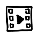 Hand-drawn image of a piece of film with a play button