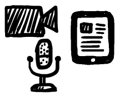 Hand-drawn image of a video camera, microphone, and tablet